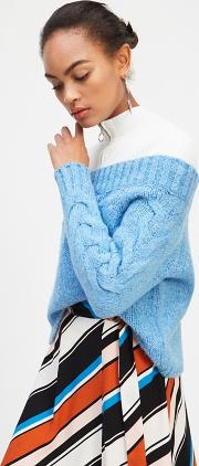 Blue Cable Sleeve Bardot Knitted Jumper