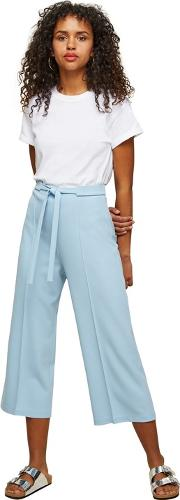 Blue Tie Front Cropped Trousers
