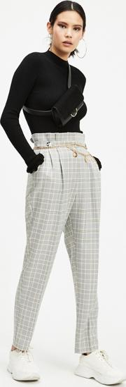 Grey Button Tab Paperbag Trousers