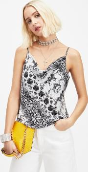 Grey Snake Print Cowl Camisole Top