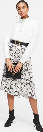 Grey Snake Print Midi Wrap Skirt