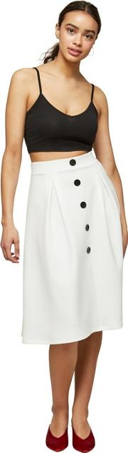 Ivory Button Midi Pleated Skirt