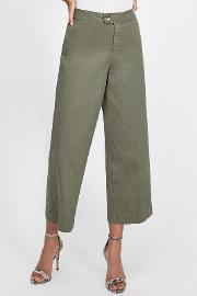 Khaki Tab Front Cropped Jeans