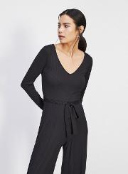 Long Sleeved Ribbed Jumpsuit