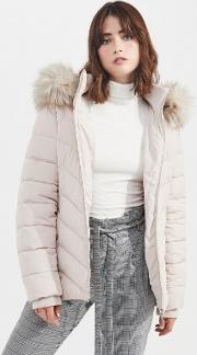 Nude Hooded Puffer Coat