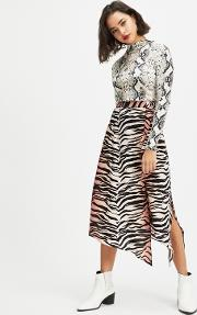 Petite Orange And Black Ombre Tiger Print Midi Skater Skirt