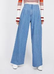 Pleated Front Wide Leg Jeans
