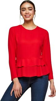 Red Double Peplum Blouse