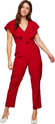 Red Frill Cape Jumpsuit