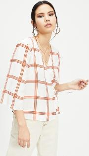 Rust Check Tie Wrap Blouse