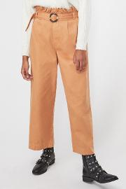Rust Frill Top Belted Cropped Trousers