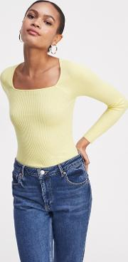 Yellow Square Neck Ribbed Jumper