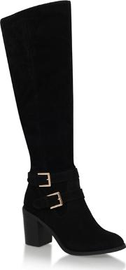 Miss Kg Black harriet Mid Block Heel Knee High Boot