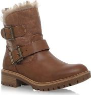 Miss Kg Brown snug Low Heel Biker Boot