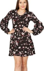 Black Floral Print V Neck Bishop Sleeves Dress