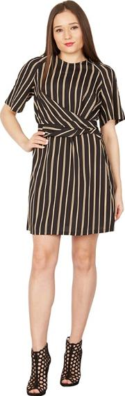 Black Stripe Tie Front Dress