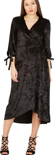 Black Velvet Wrap Midi Dress