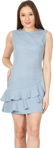 Blue Asymmetric Ruffle Shift Dress