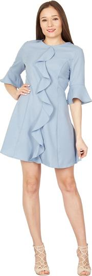 Blue Ruffle Front Skater Dress