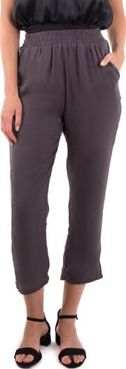 Grey Satin Cropped Trousers