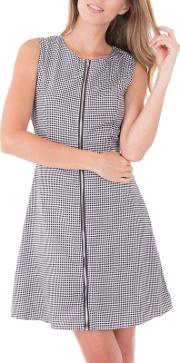 Multicoloured Check Zip Front Dress