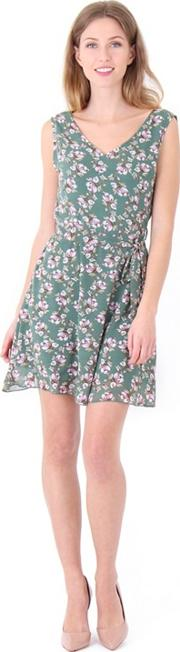 Multicoloured Floral Print Chiffon Skater Dress