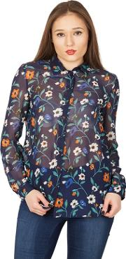 Multicoloured Floral Print Collared Sheer Blouse