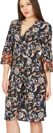 Multicoloured Floral Print Contrast Wrap Dress