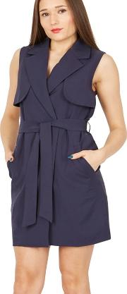 Navy Sleeveless Belted Trench Coat