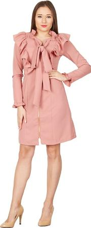 Pink Pussybow Keyhole Detail Dress
