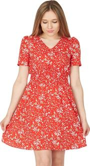 Red Floral Print Ruched Elasticated Dress