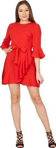 Red Frill Hem Wrap Dress