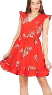 Red Ruffle Sleeves Frill Hem Dress