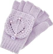 Girls Purple Maria Lilac Crochet Capped Gloves