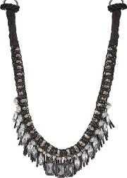 Black Crystal Beaded Charm Collar Necklace