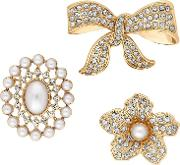 Gold Crystal And Pearl Brooch Set
