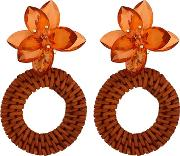 Plastic Brown Floral Hoop Earrings