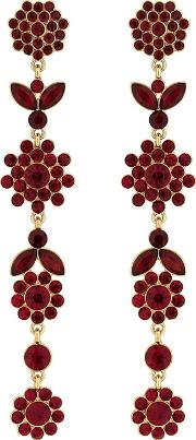 Red Crystal Floral Drop Earrings