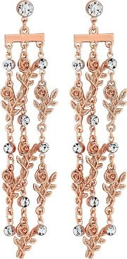 Rose Gold Plated Clear Floral Drop Earrings