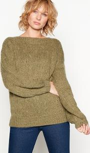 Green valora Bobble Knit Balloon Sleeve Wool Jumper