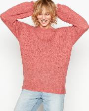 Pink valora Bobble Knit Balloon Sleeve Wool Jumper