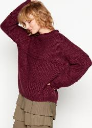 Wine Red Chunky Knit fina Jumper