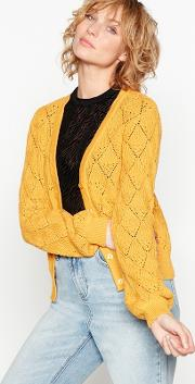 Yellow nima Crochet Knit Cardigan