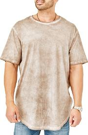 Big And Tall Beige Curved Hem T Shirt