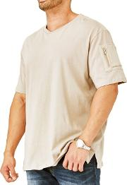 Big And Tall Beige Zipper Sleeve T Shirt
