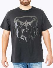 Big And Tall Black Tonal Camo Screen Print Graphic T Shirt