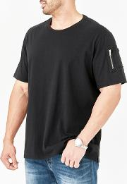 Big And Tall Black Zipper Sleeve T Shirt