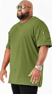 Big And Tall Green Zipper Sleeve T Shirt