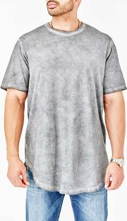 Big And Tall Grey Curved Hem T Shirt