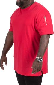 Big And Tall Red Zipper Sleeve T Shirt